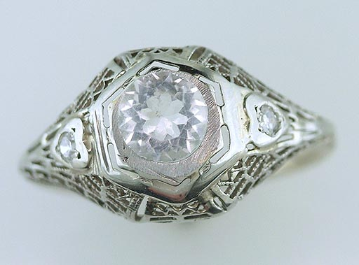 Antique Diamond Semi Mount Engagement Ring 18K & 14K White Gold Deco Vintage $1,185