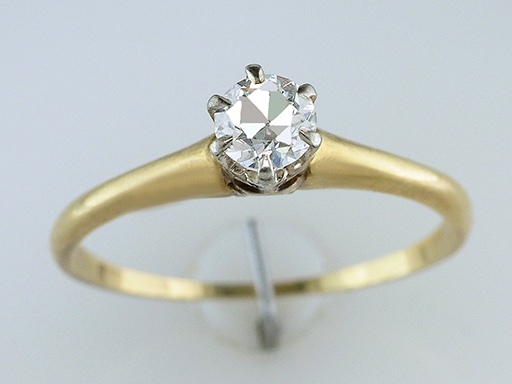 Vintage  Diamond Engagement Ring Solitaire .35ct 18K Yellow Gold Antique Art Deco $585