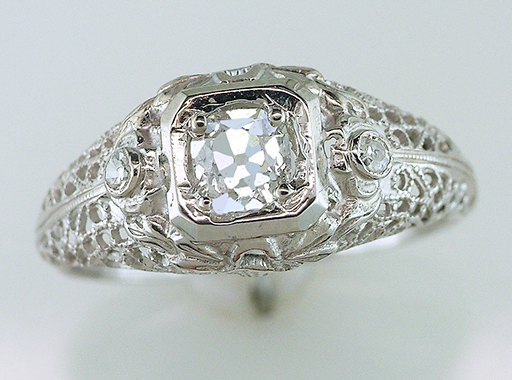 Antique Diamond Engagement Ring Certified .46ct 18K Gold Deco Vintage $1,785