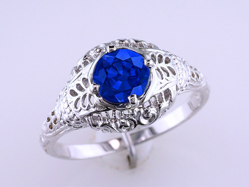 Vintage Sapphire Engagement Ring Solitaire 1.14ct 18K White Gold Antique Deco $985