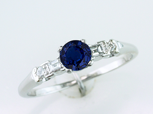 Vintage Sapphire Diamond Engagement Ring .69ct Platinum Antique Art Deco $785