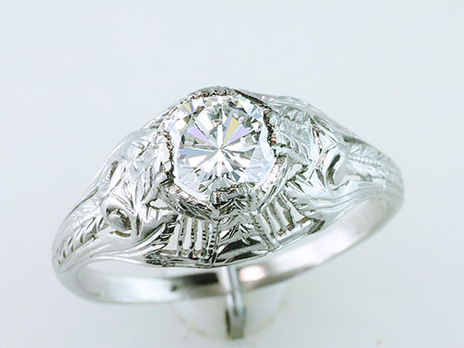 Vintage Diamond Engagement Ring GIA .58ct Platinum Antique Art Deco $1,785