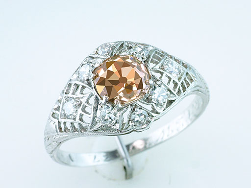 Vintage Natural Fancy Vivid Deep Chocolate Diamond Engagement Ring 1.30ct Plat $1,950