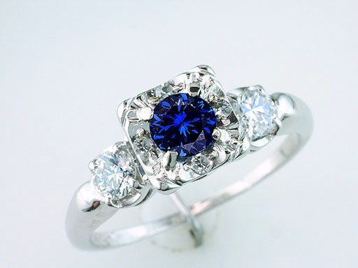 Vintage Sapphire Diamond Engagement Ring 1.28ct 14K Art Deco Antique $1,185