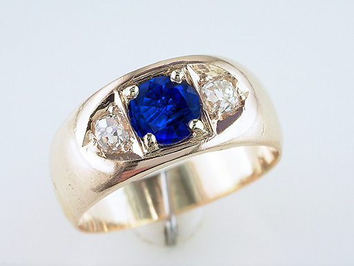 Vintage Sapphire Diamond Engagement Ring 1.38ct 14K Antique Victorian $985