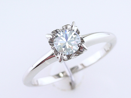 Diamond Engagement Ring Solitaire .45ct F-G/SI 18K Gold Art Deco Vintage $885