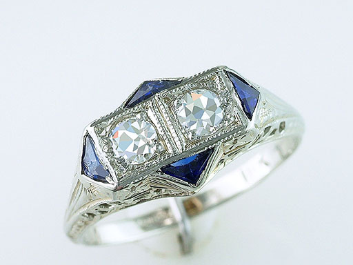 Vintage Engagement Ring French Cut Diamond Sapphire Belais Bros. .57ct 18K Deco $985