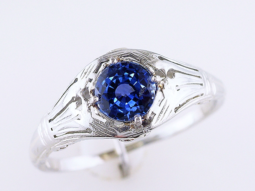 Vintage Antique Sapphire Engagement Ring .80ct 18K White Gold Art Deco $585