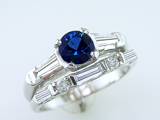 Vintage Sapphire Diamond Engagement/Wedding Ring Bridal Set 1.50ct Platinum Antique Deco $1,185