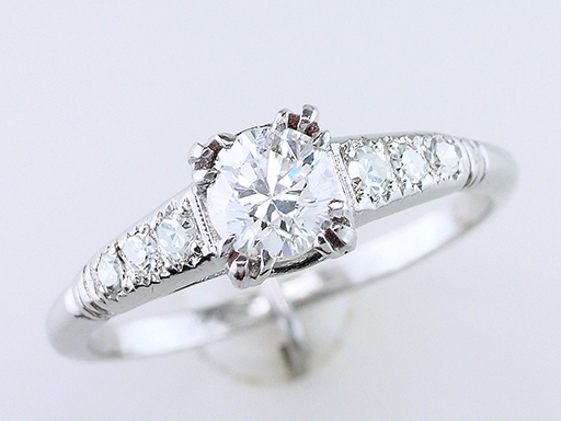 Vintage Antique Diamond Engagement Ring .65ct Platinum Art Deco Near Mint $1,185