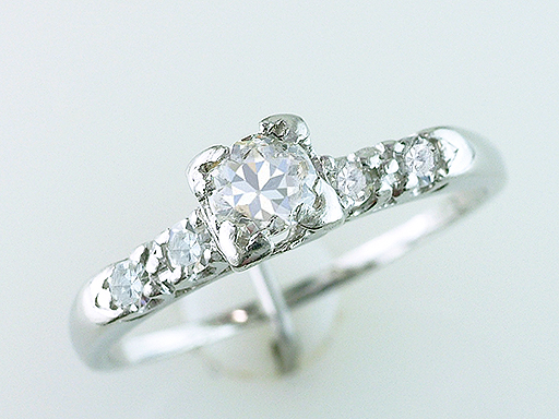 Vintage Antique Diamond Engagement Ring .50ct Platinum Art Deco $885