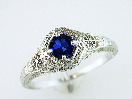 Vintage Antique Sapphire Engagement Ring .60ct 18K White Gold Art Deco $785