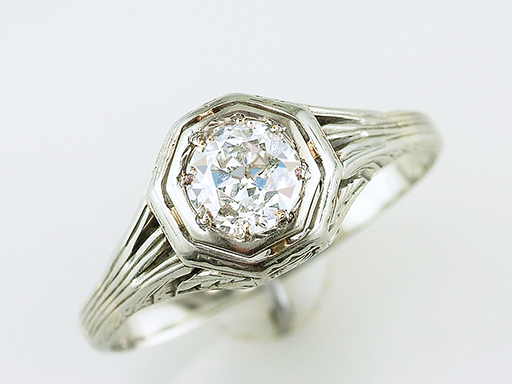 Vintage Engagement Ring .55ct Old European Cut Diamond 18K Art Deco Antique