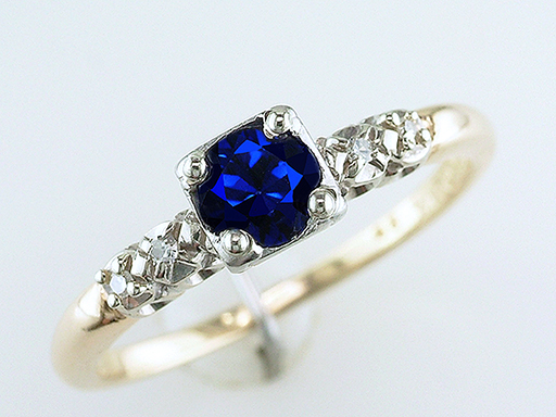Vintage Sapphire Diamond Orange Blossom Engagement Ring .55ct 14K Antique Deco $585