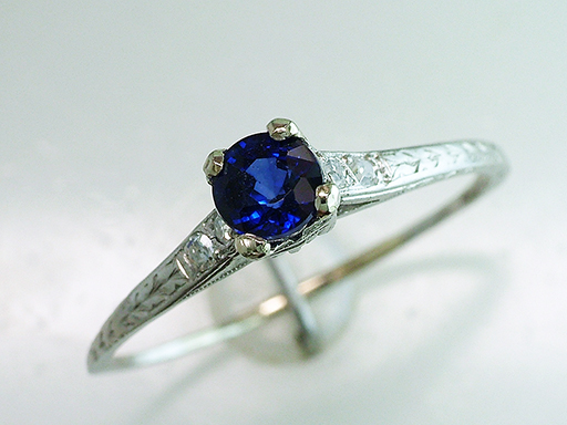 Vintage Sapphire Diamond Engagement Ring .76ct Platinum Antique Art Deco $585