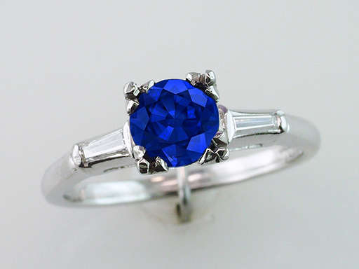 Vintage Sapphire & Diamond Engagement Ring 1.15ct Platinum Antique Art Deco $1,185