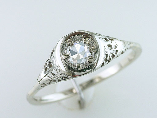Antique Diamond Engagement Filigree Ring Solitaire .25ct 14K/18K Art Deco Vintage $485