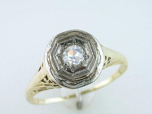 Antique Diamond Engagement Filigree Ring Solitaire .25ct 14K Art Deco Vintage $485