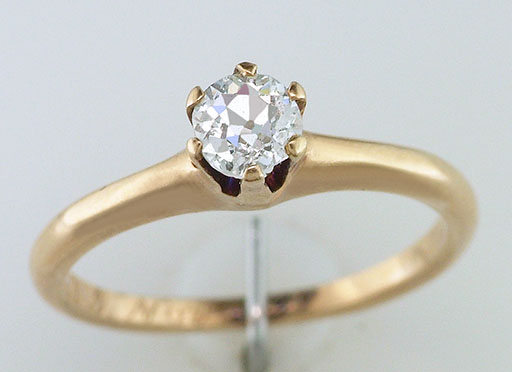 Vintage Diamond Engagement Ring Solitaire 1/4ct 14K Yellow Gold Antique Victorian $485