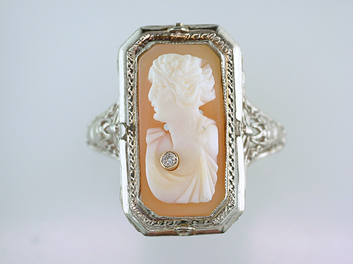 Antique Vintage Diamond Cameo Filigree Cocktail Ring 14K White Gold Art Deco $385