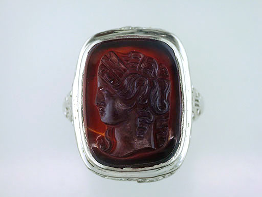 Antique Vintage Cameo Cocktail Ring 14K White Gold Art Deco Hand Carved $385