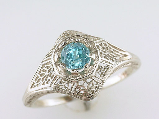 Vintage Blue Zircon Engagement Ring .50ct Solitaire 14K Art Deco Antique Filigree $385