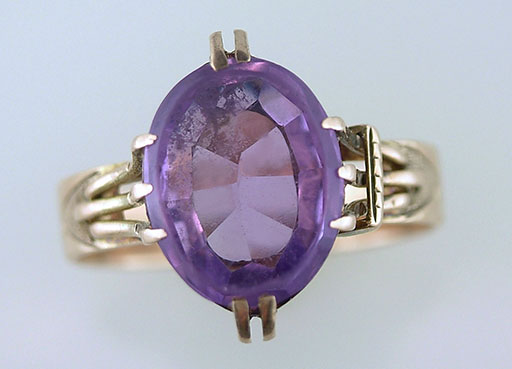 Vintage Antique Amethyst Cocktail Ring 4ct 14K Yellow Gold Victorian $385