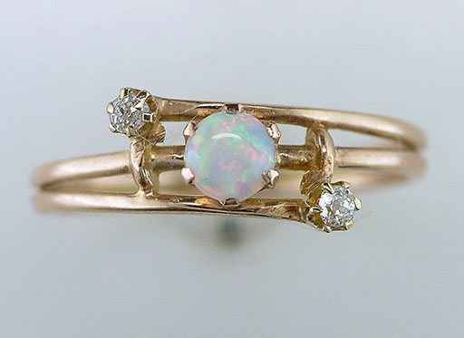 Vintage Antique Opal & Diamond Cocktail Ring 14K Yellow Gold Victorian $385