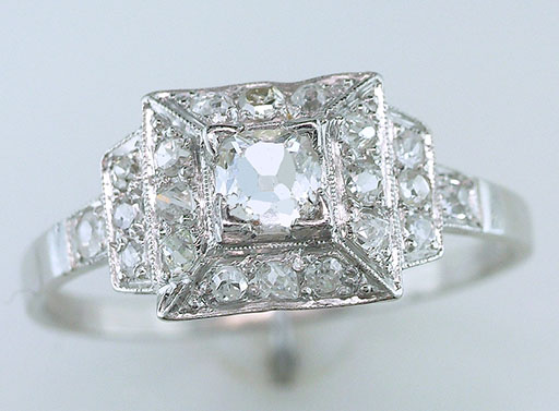 Antique Diamond Engagement Ring French Cut GIA Certified 3/4ct Platinum Art Deco $1,685