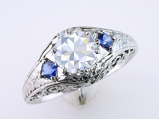 Diamond Sapphire Engagement Ring Belais Bros. GIA Cert 1.14ct 18K Art Deco $10,850