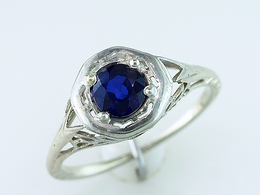 Vintage Sapphire Engagement Ring .70ct Solitaire 18K Art Deco Antique Leaves $485