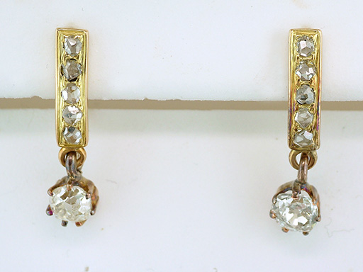 Antique Diamond Dangle Lever Back Earrings 3/4ct 14K Gold Victorian Vintage $1,095