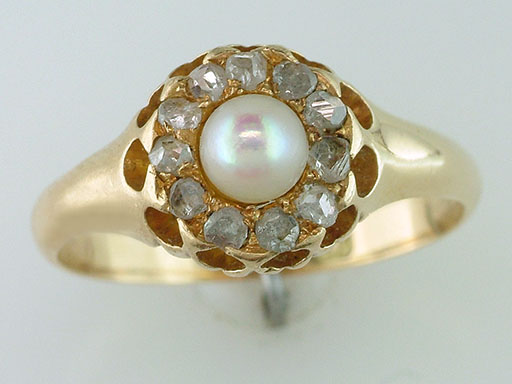 Antique Diamond & Pearl Cocktail Ring 1/3ct 18K Yellow Gold Victorian Vintage $435