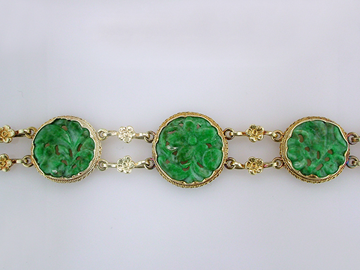 Vintage Jade Bracelet 14K Yellow Gold Antique Victorian $1,840