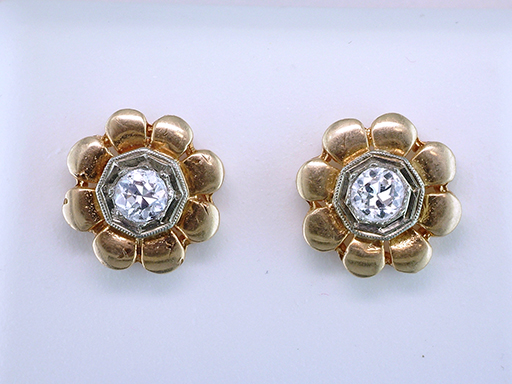 Vintage Diamond Screw Back Earrings .35ct 14K Yellow Gold Antique Art Deco $685