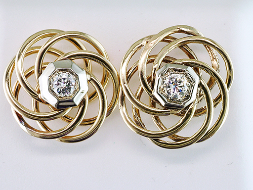 Vintage Diamond Screw Back Earrings Love Knot .30ct 14K Antique Art Deco $485