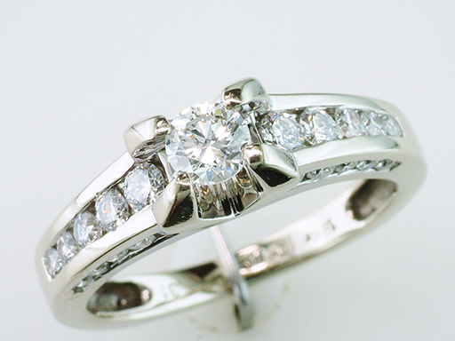 Diamond Engagement Wedding Ring 3/4ct 18K White Gold Channel Set $895