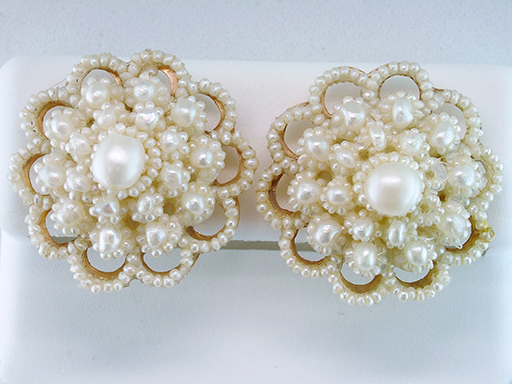 Vintage Pearl Clip Earrings 14K Yellow Gold Antique Victorian $585