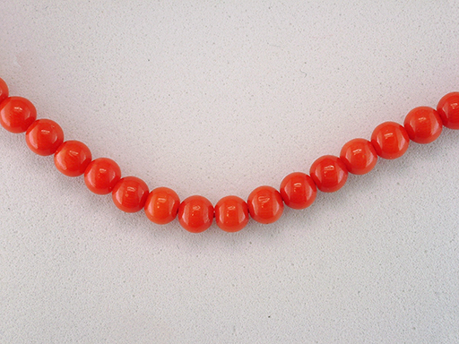 Vintage Coral Necklace Strand 18K Gold Antique Retro Mid Century $685