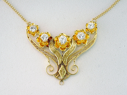 Vintage Diamond Necklace Pendant .60ct 14K Gold Antique Victorian $985