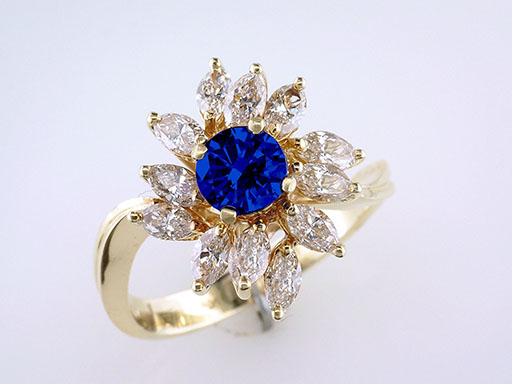 Sapphire Diamond  Cocktail Ring 2.50ct 18K Art Deco Ring $2,950