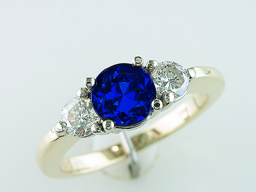 Sapphire Diamond Cocktail Engagement Ring 1.40ct 14K Yellow Gold $985