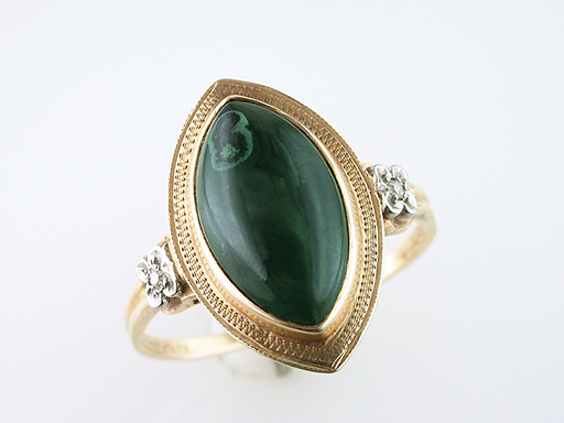 Vintage Antique Green Agate & Diamond Cocktail Ring 14K Gold Palladium Deco $385