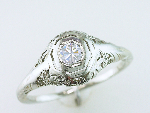 Antique Diamond Engagement Filigree Ring Solitaire .20ct 14K Art Deco Vintage $485