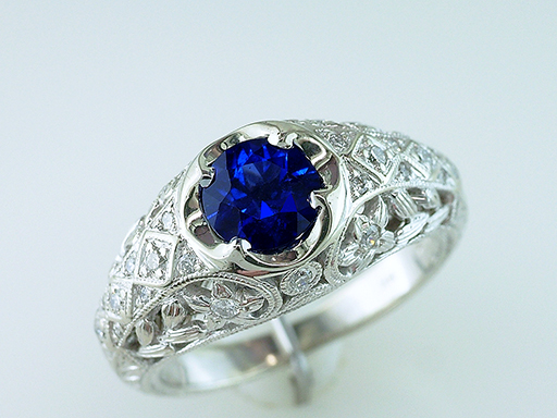 Sapphire Diamond Engagement Cocktail Ring 1.25ct 14K Antique Style $685