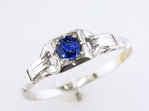 Vintage Sapphire Engagement Ring .50ct Solitaire 18K Art Deco Antique $385