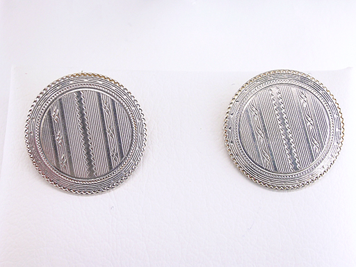 Vintage Cufflinks Hand Engraved Solid 14K White Gold Top Antique Art Deco $285