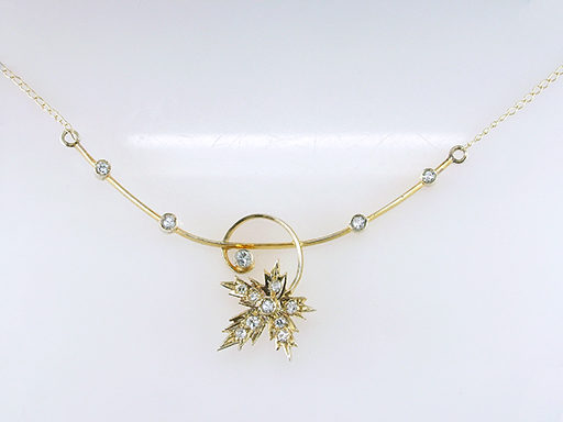 Vintage Diamond Necklace Maple Leaf .25ct Yellow Gold Antique Victorian $385