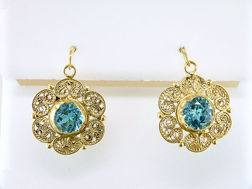 Vintage Blue Topaz Earrings 18K Yellow Gold 1.50ct Antique Victorian Leverback Filigree $385