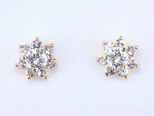Vintage Diamond Stud Earrings Double Certified 1.02ct 18K Gold Antique Art Deco $1,750